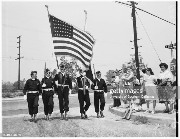Baldwin Park parade 19 August 1951 Sheriff's mounted posse from Temple CityDolores Stamati 15 yearsMary Hammond 10 yearsDiane Vaughn 10 yearsJerry...