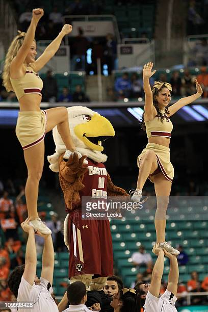 Baldwin the Boston College Eagles mascot performs with the cheerleaders during the second half in the quarterfinals of the 2011 ACC men's basketball...