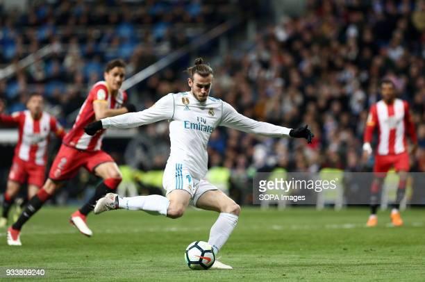 Bale in action during the La Liga match between Real Madrid and Girona FC at Estadio Santiago Bernabéu Final score