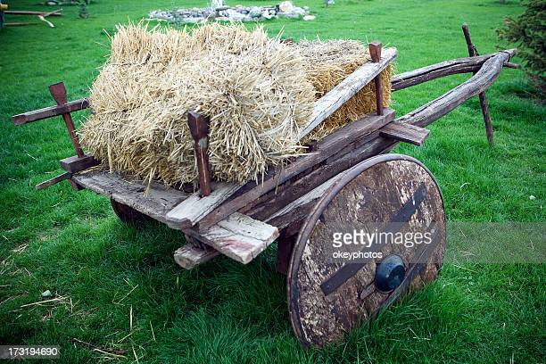 Bale of Hay on a wooden cart