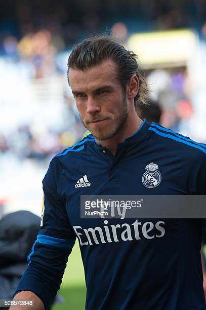 Bale of Real Madrid reacts during the Spanish league football match between Real Sociedad and Real Madrid at the Anoeta Stadium in San Sebastian on...