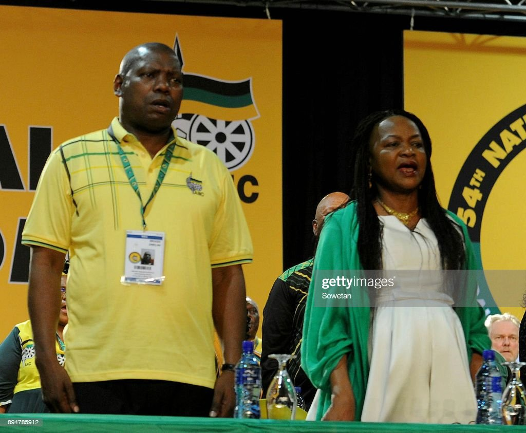 Baleka Mbete and Zwelio Mkhize during outgoing ANC President Jacob Zumas final speech at the partys 54th national elective conference at the Nasrec Expo Centre on December 16, 2017 in Johannesburg, South Africa. In his speech Zuma reminded the ANC of the journey it had taken in 2017 remembering the longest-serving president of the ANC Oliver Reginald Tambo.