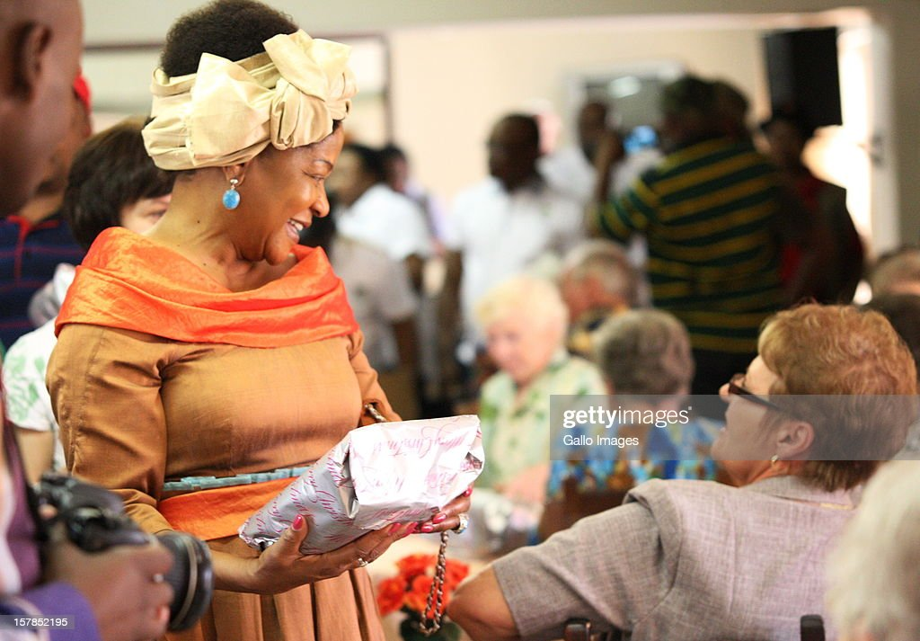 Baleka Mbete, National Chairperson of the ANC, visits an old age home before the Jacob Zuma Centennial lecture on December 6, 2012 in Potchefstroom, South Africa. The lecture is part of the ANC's centenary celebrations honouring the party's presidents, and is the last before their elective conference in Mangaung.