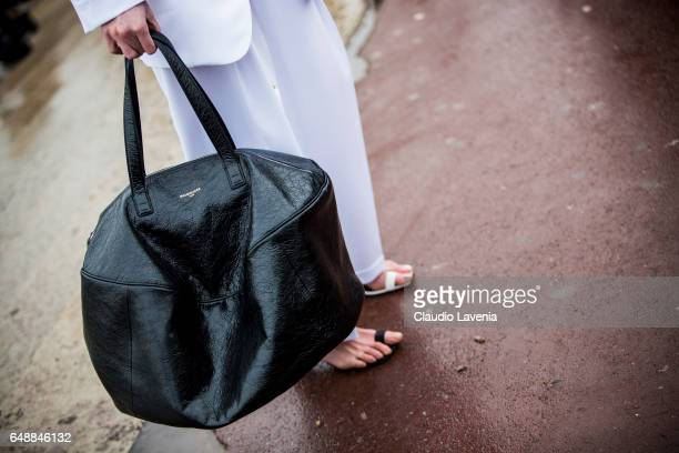 Balenciaga bag is seen in the streets of Paris before the Hermes show during Paris Fashion Week Womenswear Fall/Winter 2017/2018 on March 6 2017 in...
