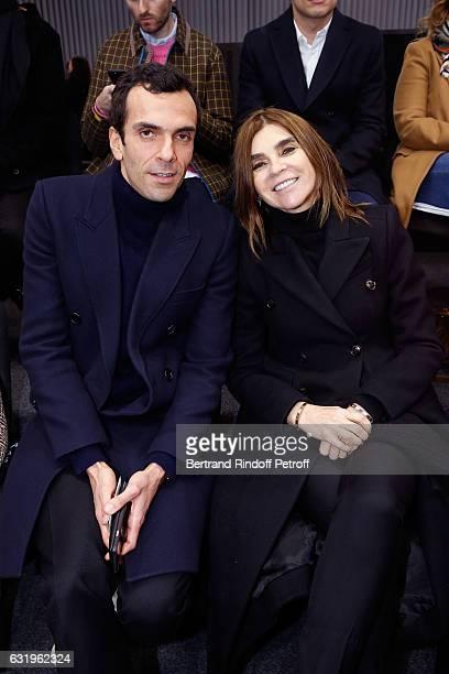 CEO Balenciaga Cedric Charbit and journalist Carine Roitfeld attend the Balenciaga Menswear Fall/Winter 20172018 show as part of Paris Fashion Week...