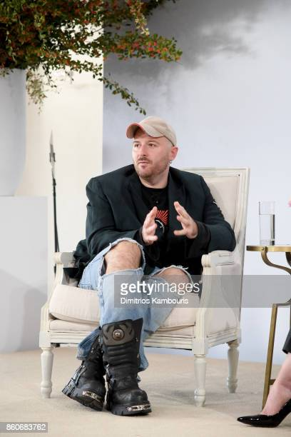 Balenciaga Creative Director Demna Gvasalia speaks onstage during Vogue's Forces of Fashion Conference at Milk Studios on October 12, 2017 in New...