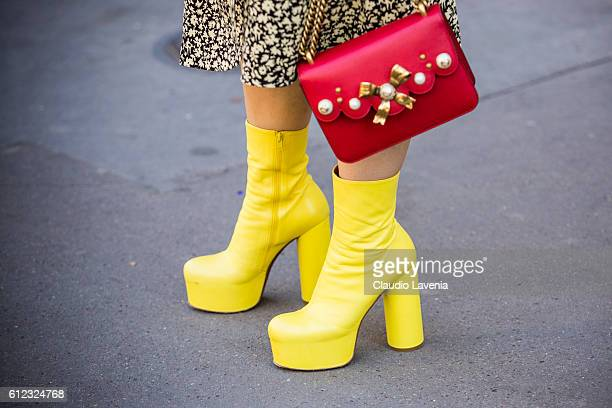 Balenciaga shoes outside the Hermes show on day 7 of Paris Womens Fashion Week Spring/Summer 2017 on October 3 2016 in Paris France