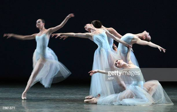 Balerinas of New York City Ballet troupe perform Serenade ballet of George Balanchine at the stage of Mariinsky theatre in StPetersburg 30 July 2003...