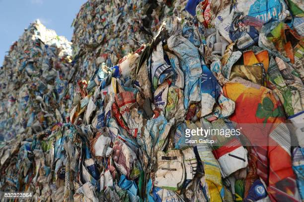 Bales of discarded drinks containers stand at the ALBA sorting center for the recycling of packaging materials on August 15 2017 in Berlin Germany...