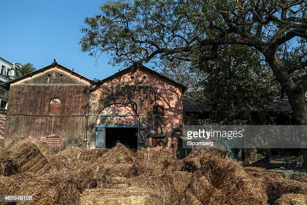Bales of dried grass sit outside a cow shelter known as a goshala in Mumbai India on Tuesday March 10 2015 The government of the state of Maharashtra...