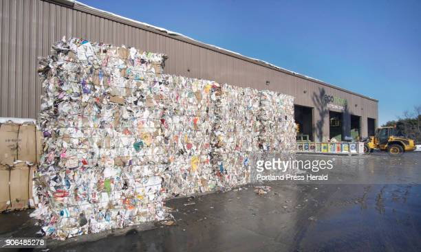 Bales of paper are stacked outside of the ecomaine recycling facility in Portland on Tuesday January 9 2018 The bales are not normally stored outside...
