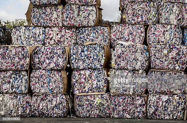 bales of recycled TETRAPAKS PACKAGES SIT at Klabin SA for the production of recycled paper for packaging Piracicaba Brazil on Tuesday October 1st 2013