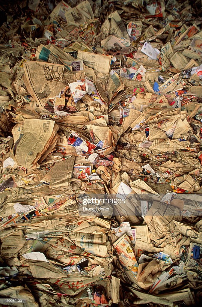Bales Of Waste Paper In Recycling Centre Stock Photo - Getty