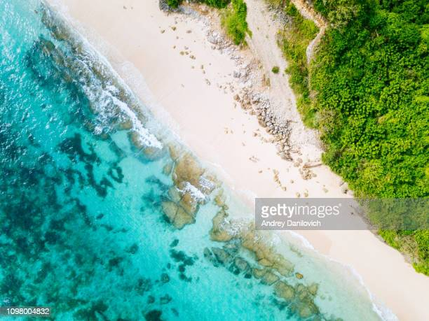 bali - beach from above. straight drone shot - reef stock pictures, royalty-free photos & images