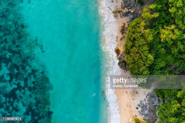 bali - beach from above. straight drone shot - indonesia stock pictures, royalty-free photos & images
