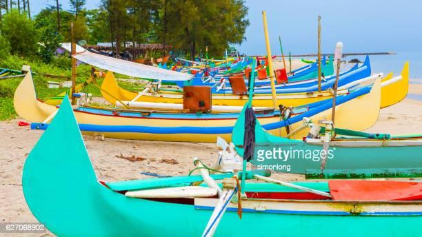 Bali Fishing Boats at Sanur, Indonesia.