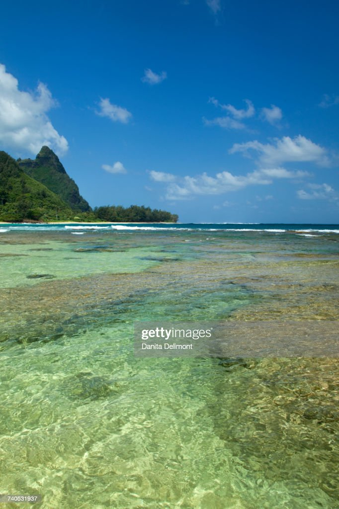 Bali Hai Green Peaks And Tunnels Beach Kauai Hawaii Usa Stock Photo