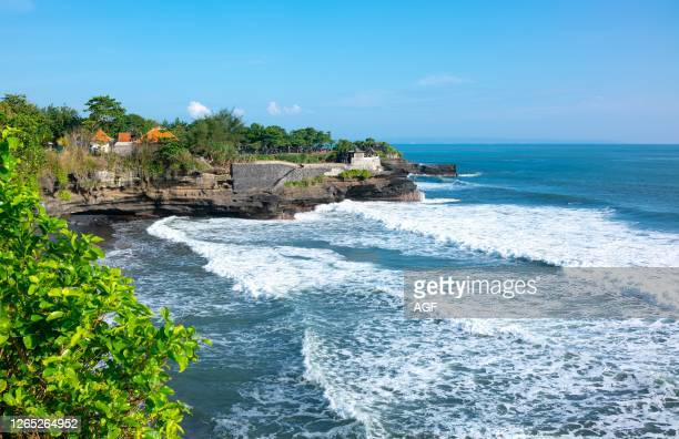 Bali. Indonesia. Panoramic view of the Tanah Lot temple on the shores of the sea.