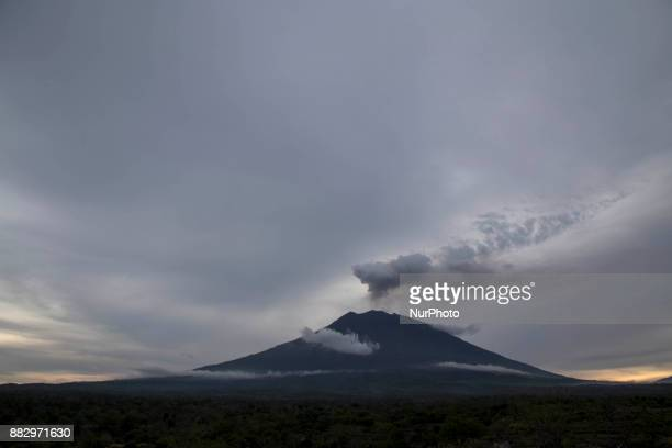 View of Mount Agung in afternoon at Karang Asem Bali Mount Agung eruption a little bit cooling down but still uncertain whethere the big explosion...