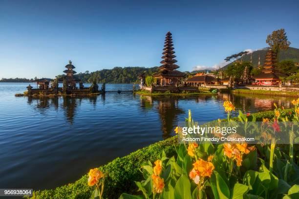 bali, pura ulun danu bratan temple - lake bratan area stock pictures, royalty-free photos & images