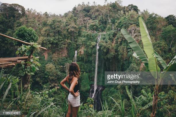 bali waterfall tourist - idyllic stock-fotos und bilder