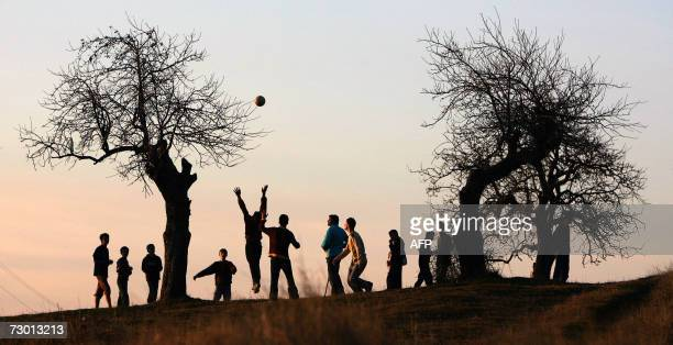 Ethnic Albanian youngsters play football near the village of Balinca 16 January2007 Serbians go to the polls for Parliamentary elections 21 January...