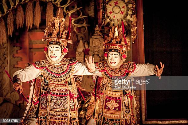 Balinese actors playing the traditional spectacle of barong in the center of Ibud town in Bali, Indonesia.