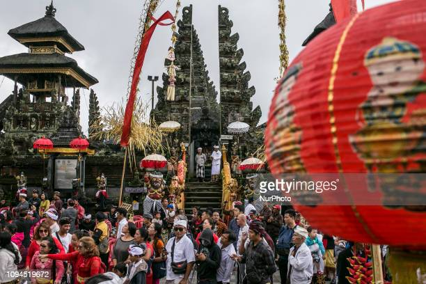 Balinese and tourits watches Balingkang Kintamani Festival parade to celebrate Chinese New Year and also to introduce the acculturation of...