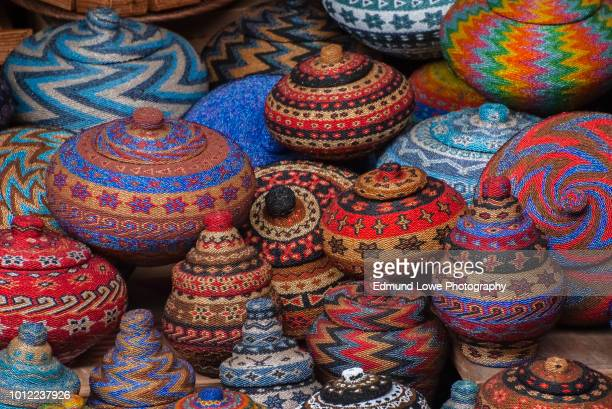 balinese beaded baskets for sale in ubud public market. - ubud district stock pictures, royalty-free photos & images