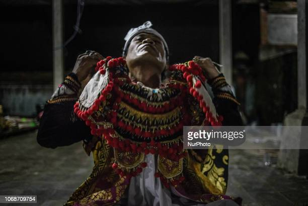 Balinese Hindu religious ceremony and dances in the village temple near Ubud Ubud District Bali Indonesia on November 22 2018 The ceremony called...