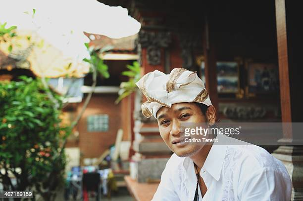 balinese man at home - balinese culture stock pictures, royalty-free photos & images