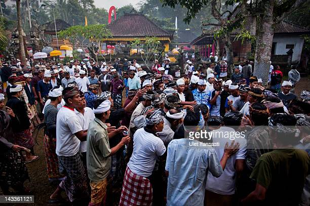 Balinese men dressed in traditional costumes watch as the roosters fight each other during the sacred 'Aci Keburan' ritual at Nyang Api Temple on...