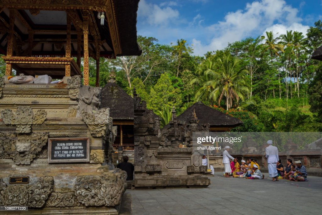 Balinese people praying in a temple Tirta Empul in Bali, Indonesia. : Stock Photo