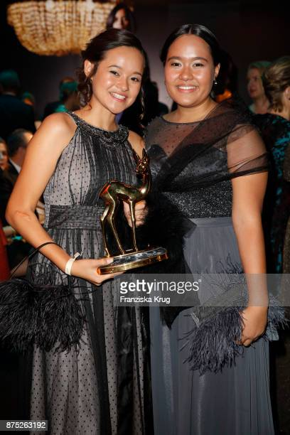 Balinese sisters Isabel and Melati Wijsen pose at the Bambi Awards 2017 party at Atrium Tower on November 16 2017 in Berlin Germany