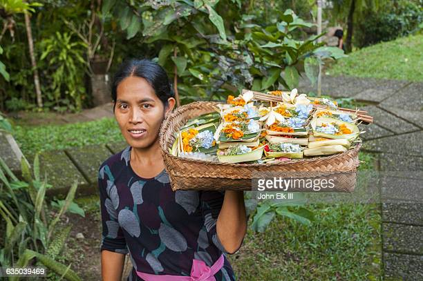 Balinese woman with offerings