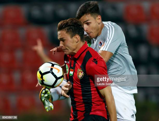 Balint Gaal of Vasas FC wins the ball from David Bobal of Budapest Honved during the Hungarian OTP Bank Liga match between Budapest Honved and Vasas...
