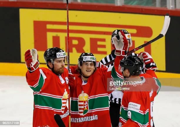 Balint Magosi of Hungary, Krisztian Nagy of Hungary and Andras Benk of Hungary celebrate the second goal during the 2018 IIHF Ice Hockey World...
