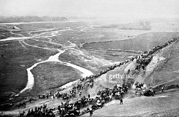 Balkan War Retreat of the Turkish army in Macedonia Ottoman troops after having abandoned Uskub are retreating towards Kuprulu through Vardar Valley