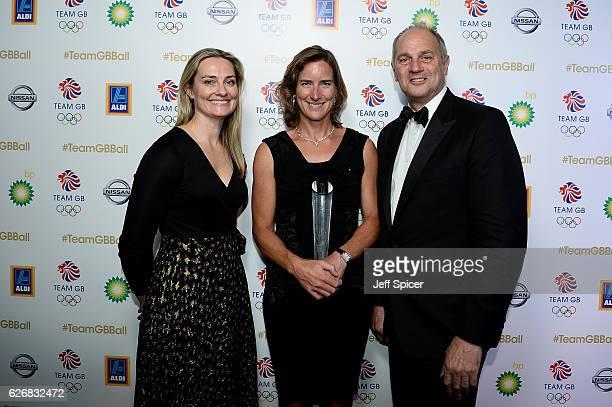Ball Ambassador Sir Steve Redgrave Sarah Gosling pose with Katherine Grainger winner of the Olympians' Olympian Award at the Team GB Ball at...