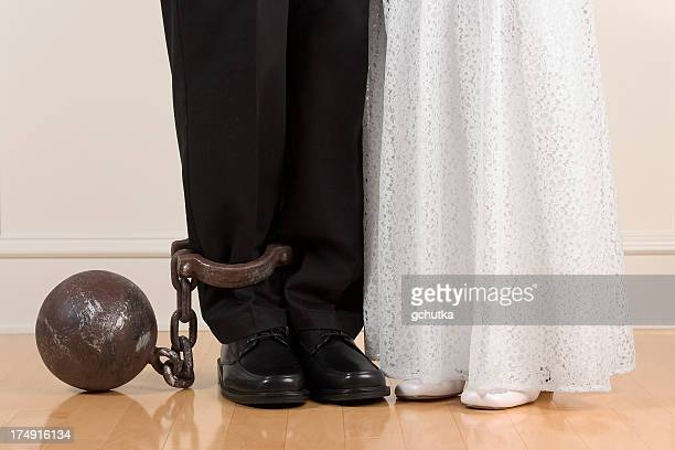 A ball and chain representing marriage