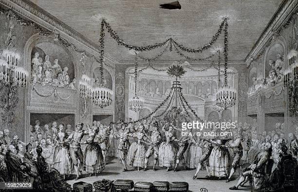 Ball at Versailles for the Carnival of 1763 engraving France 18th century Paris Bibliothèque Des Arts Decoratifs