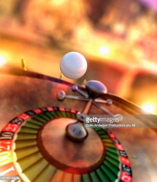 Ball bouncing on roulette wheel