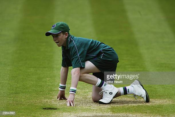 Ball boy during the final day of the Wimbledon Lawn Tennis Championships held on July 6 2003 at the All England Lawn Tennis and Croquet Club in...