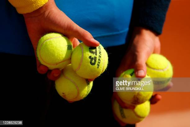 Ball boy is pictured on day two of the Italian Open at Foro Italico on September 15, 2020 in Rome, Italy.