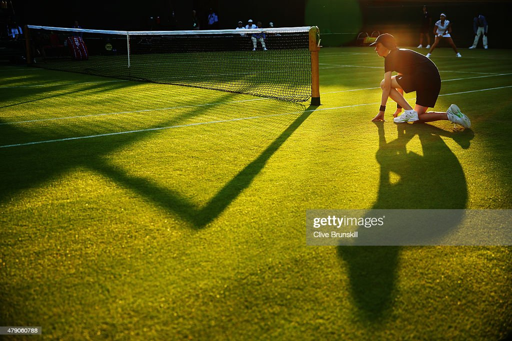 Ball boy is seen during day two of the Wimbledon Lawn Tennis Championships at the All England Lawn Tennis and Croquet Club on June 30, 2015 in London, England.