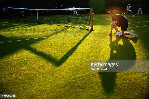 Ball boy is seen during day two of the Wimbledon Lawn Tennis Championships at the All England Lawn Tennis and Croquet Club on June 30 2015 in London...