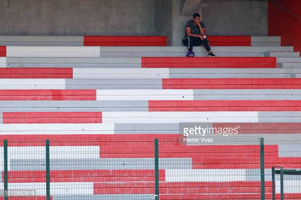 Ball boy looks the game during the 10th round match between Toluca and Atlas as part of the Torneo Clausura 2020 Liga MX at Nemesio Diez Stadium on...