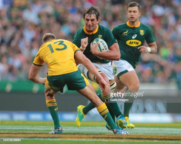 Ball carrier Eben Etzebeth of South Africa during the Rugby Championship match between South Africa and Australia at Nelson Mandela Bay Stadium on...
