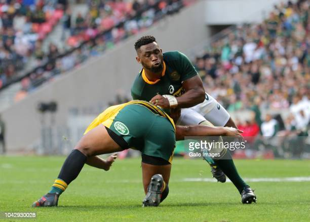 Ball carrier Siya Kolisi of South Africa during the Rugby Championship match between South Africa and Australia at Nelson Mandela Bay Stadium on...