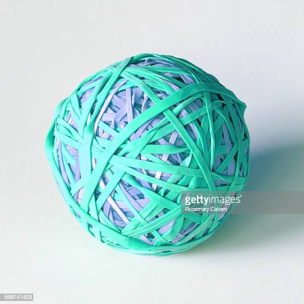 Ball created with colourful elastic bands